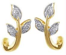 Ag Real Diamond Stone Leaf Earring Agse0047