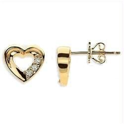 Ag Real Diamond Six Stone Heart Earring Agse0052