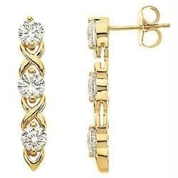 Ag Real Diamond Six Stone Dangling Earring