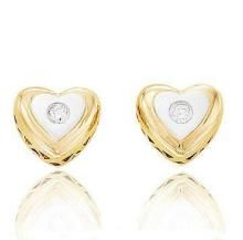 Ag Real Diamond Fancy Heart Earring Agse0055