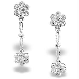 Ag Jewellery - Ag Real Diamond Pressure Set White Flower Dangling
