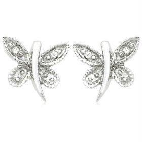 Ag Real Diamond White Butter Fly Fancy Earring