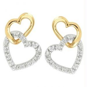 Ag Real Diamond Gold & Silver Heart Shape Earring