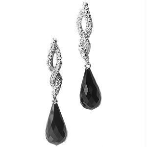 Ag Real Diamond With Black Stone Fashion Earring
