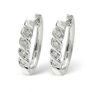 Ag Real Diamond Fancy Hoop Earrings