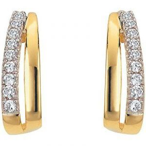 Ag Real Diamond Straight Hoop Earrings