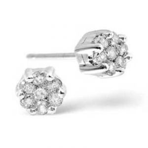 Ag Real Diamond Fourteen Stones Fancy Stud Earring