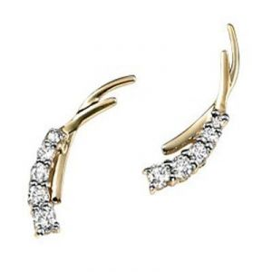 Ag Real Diamond Ten Stones Fancy Shape Earrings
