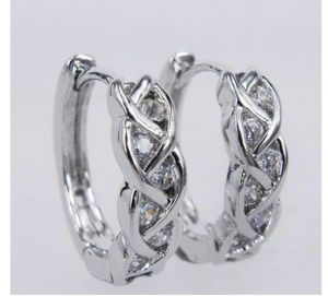 Ag Real Diamond Twelve Stones Traditional Earring