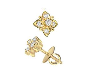 Ag Real Diamond Six Stones Fancy Flower Earring