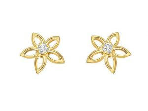 Ag Real Diamond Two Stones Desi Flower Earrings