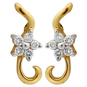Ag Real Diamond 10 Stones Fancy Earring Agse0157