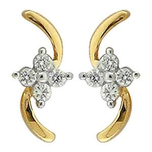 Ag Real Diamond 8 Stones Fancy Earring Agse0159