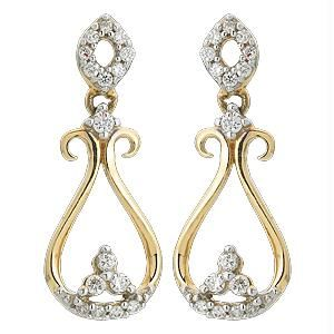 Triveni,Platinum,Jagdamba,Ag,Estoss Women's Clothing - Ag Real Diamond 32 Stones Fashion Earring AGSE0163
