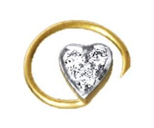 Ag Real Diamond 3 Stone Heart Shape Nose Ring