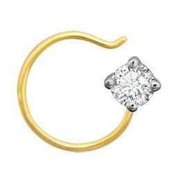 Ag Real Diamond Solitaire Nose Pin