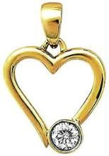 Ag Real Diamond Stone Heart Pendant Agsp0048