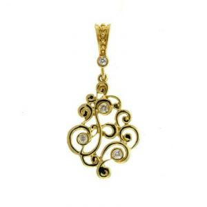 Ag Real Diamond Traditional Shape Pendant