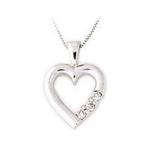 Ag Real Diamond Heart Shape Pendant Agsp0087