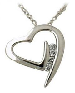 Ag Real Diamond Fancy Heart Shape Pendant