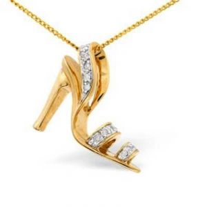 Ag Real Diamond Ten Stones Sandal Shape Pendant