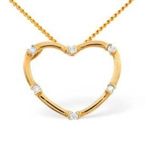 Ag Real Diamond Six Stones Heart Shape Pendant