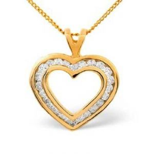 Ag Real Diamond Twenty Four Stones Heart Pendant