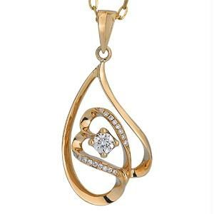 Ag Real Diamond 18 Stones Double Heart Pendant