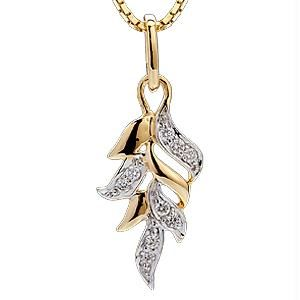 Ag Real Diamond Ten Stones Leaf Pendant Agsp0114