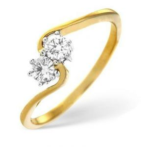 Ag Real Diamond Two Stone Slim Curve Fancy Ring