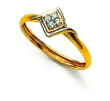 Ag Real Diamond Stone Square Fancy Shape Ring