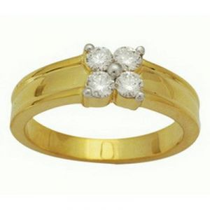 Ag Real Diamond Four Stone Band Ring Agsr0056
