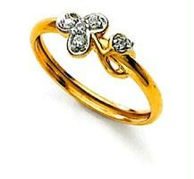 Ag Real Diamond Stone Flower Shape Fancy Ring Ag