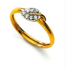 Ag Real Diamond Stone Leaf Shape Fancy Ring