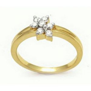 Ag Real Diamond Stone Flower Band Ring Agsr0061