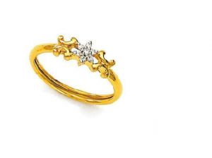 Ag Real Diamond Traditional Flower Shape Ring