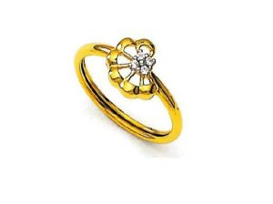 Ag Real Diamond Beautiful Flower Shape Band Ring