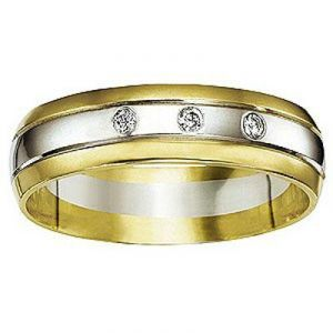 Ag Real Diamond Yellow & White Band Ring