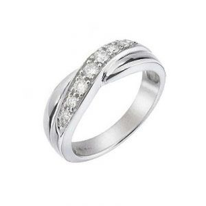Ag Real Diamond Circular Fancy Band Ring