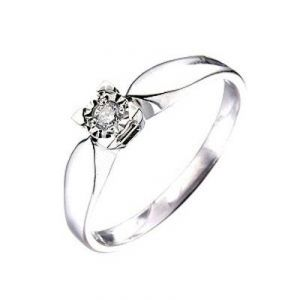 Ag Real Diamond Solitaire Look Fancy Ring
