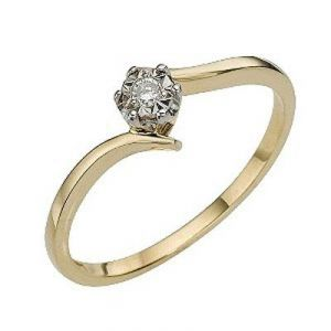 Ag Real Diamond Solitaire Slim Band Ring