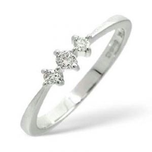 Ag Real Diamond Three Stones Band Shape Ring
