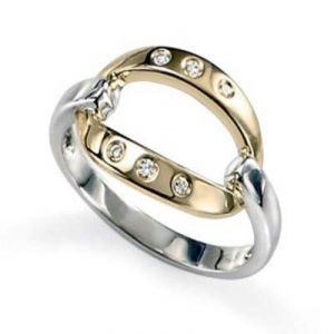 Ag Real Diamond Six Stones Band Shape Ring