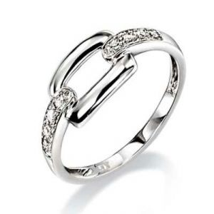 Ag Real Diamond Eight Stones Band Lock Shape Ring