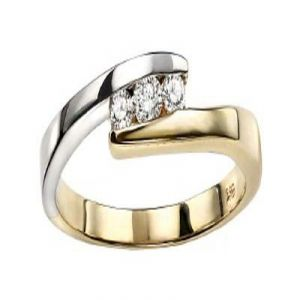 Ag Real Diamond Three Stones Band Joint Shape Ring