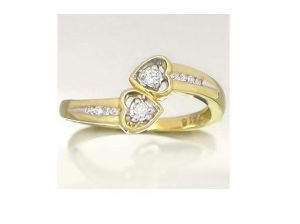 Ag Real Diamond Ten Stones Double Heart Shape Ring