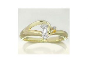 Ag Real Diamond Four Stones Fancy Shape Ring