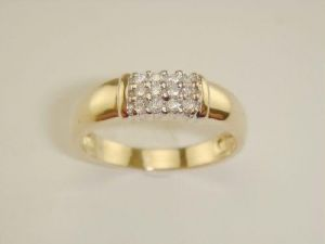 Ag Real Diamond Twelve Stones Band Shape Ring