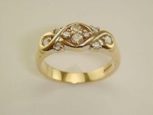 Ag Real Diamond Ten Stones Band Shape Ring
