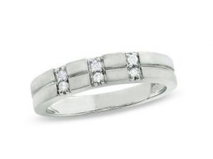 Ag Real Diamond Six Stones Band Stap Shape Ring